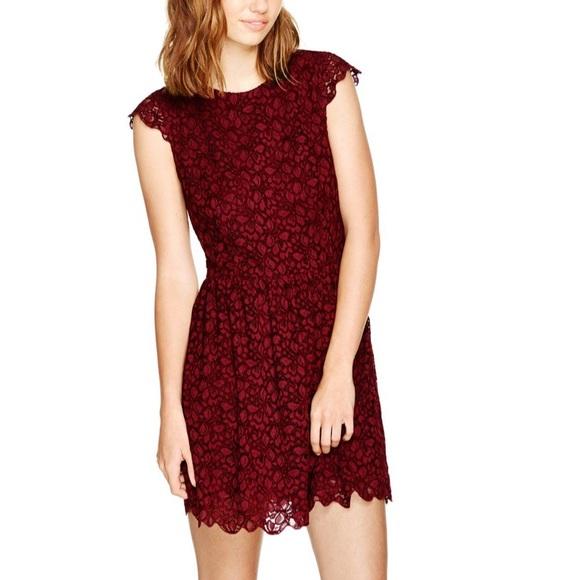 Talula | Dark Red Belgravia Lace Cap Sleeve Dress